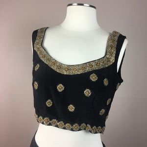 Vintage Silk Glass Beaded  Sequenced Crop Top M